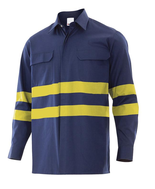 Camisa ingnífuga – antiestática con cintas reflectantes